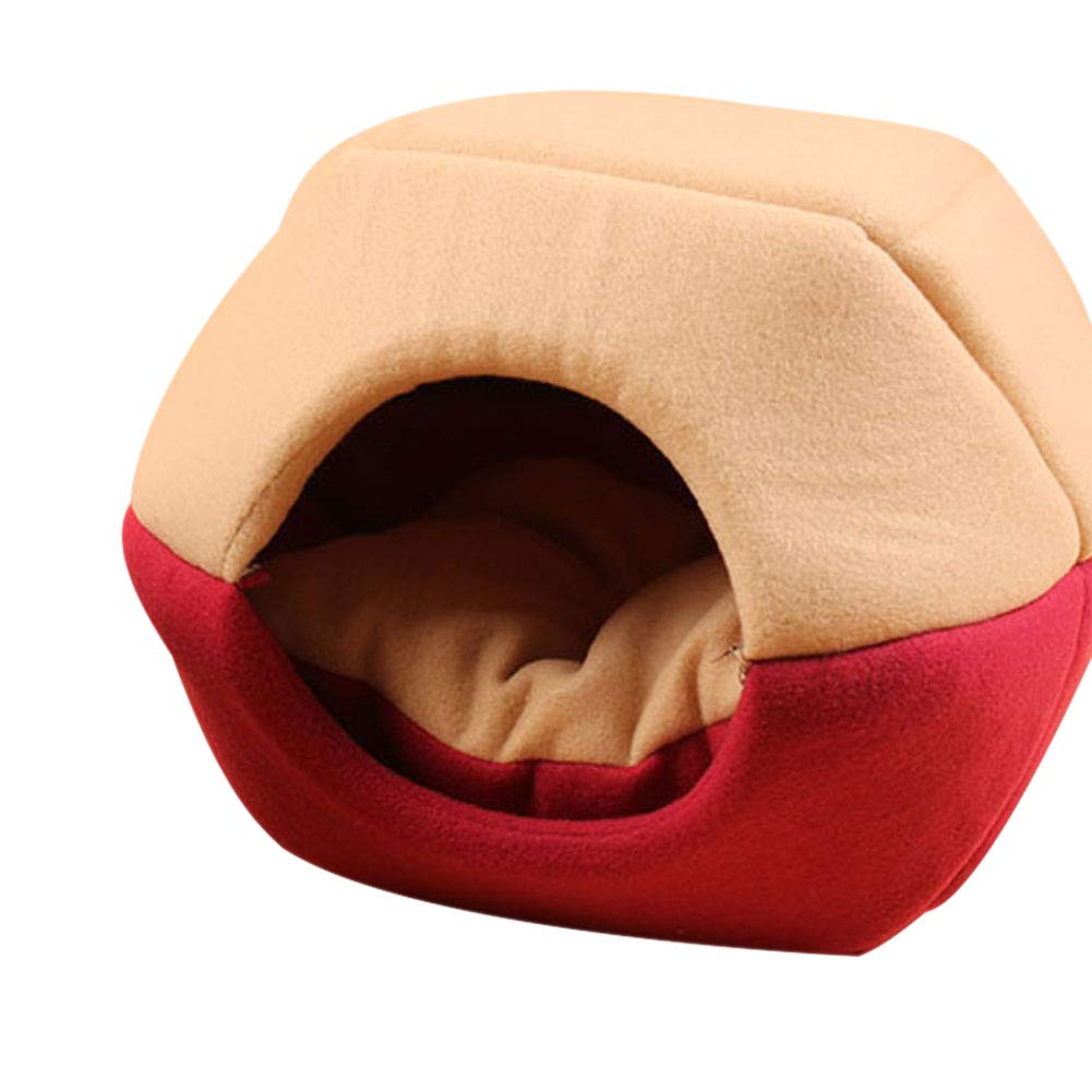 Red Medium Red Medium Goalftek Puppy Cave Sleeping Mat Pad Nest Kennel, Cat Dog Bed House, Foldable Soft Warm Pet Supplies