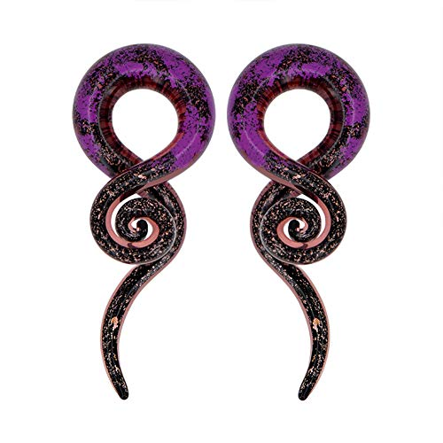 MoBody One Pair Dichroic Glass Ear Gauge Taper Hangers 4G-12mm Black and Purple Foil Handmade Glass Ear Gauge Plugs Set (00G (10mm))