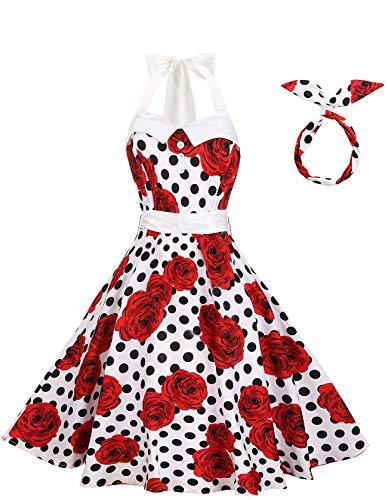 BI.TENCON Women Vintage Polka Dot Sexy Retro Halter Style Cocktail Prom Dresses 1950s Rockabilly White Red Rose Plus Size 2XL