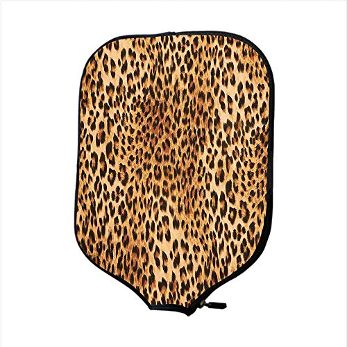 Neoprene Pickleball Paddle Racket Cover Case,Animal Print Decor,Wild Animal Leopard Skin Pattern Wildlife Inspired Stylish Modern Illustration,Brown Beige,Fit For Most Rackets - Protect Your Paddle