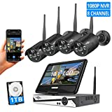 [8CH Expandable] All in one with 10.1' LCD Monitor Wireless Security Camera System with Audio, 8CH...