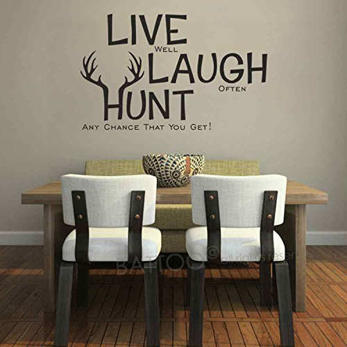 Live Laugh Hunt Elk Deer Antlers Hunting Wall Decor Vinyl Sticker Wall Art Wall Decal Quotes(Black, 14