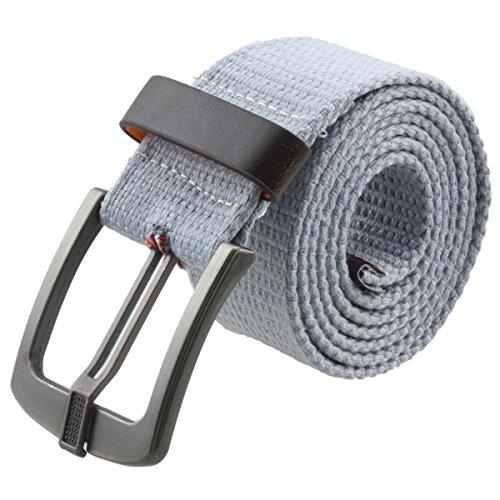 Samtree Canvas Web Belts for Women Men,Adjustable Multi-color Hole Buckle Belt (Grey)