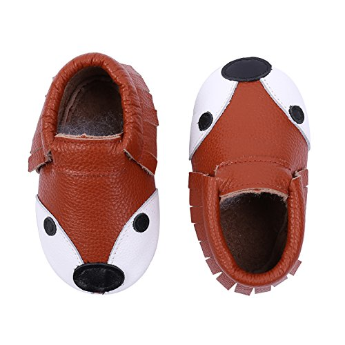 KOSHINE Fox Baby Shoes Boy Genuine Leather Toddler Mocassins Infant First Walker Prewalker (4.5 M US Toddler (4.77in/3-6Mo.), (Animal Booties)