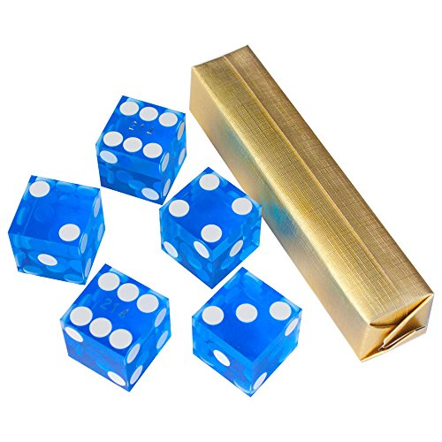 Precision 19mm Casino (19mm A Grade Casino Dice with Matching Serial Numbers Set of 5 - BLUE by GSE)