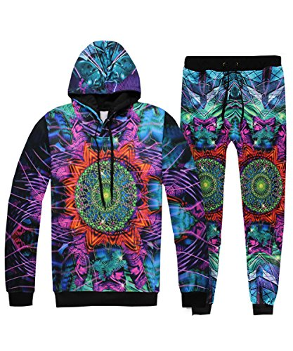 Unisex 3D Printed 2PCS Hooded Sweatshirt Sweatpants Pullover with Big Pockets