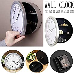 sweetyhomes Wall Clock Storage Box Clock Safe Box Jewelry Box Wall Clock Hidden Clock Safe Storage Clock Jar,Silver