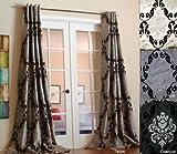 Lambrequin Arabella 84 in. L Flocked Curtain Panel – 54 x 84 Black For Sale