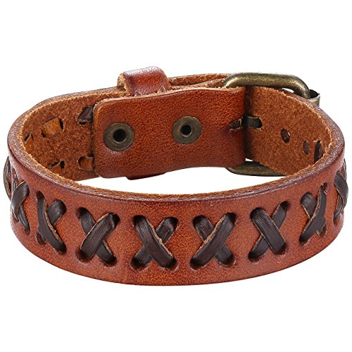 Aoiy Coffee Brown X and Brown Strap Leather Cuff Bracelet, Ajustable, Belt Style, Unisex,llb022zo