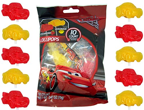 Disney Pixar Cars 3 Lightning McQueen Lollipops, 10 Count Bag Disney Cars Candy
