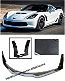 Z06's Z07 Performance Package Stage 3 Style ABS Plastic Carbon Flash Metallic Front Bumper Lower Lip Kit Splitter Spoiler Wing With Side Extension Winglets For 14-Up Chevrolet Corvette C7