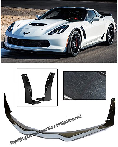 Z06's Z07 Performance Package Stage 3 Style ABS Plastic Carbon Flash Metallic Front Bumper Lower Lip Kit Splitter Spoiler Wing With Side Extension Winglets For 14-Up Chevrolet Corvette (Corvette Z51 Performance Package)
