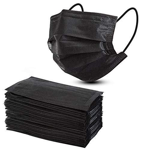 Disposable Masks Black, AXHKIO Face Mask, Pack of 50, Anti Dust, Breathable (50 PCS-BLACK)
