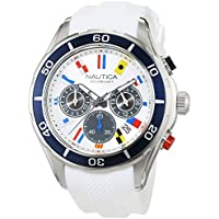 Nautica NST 12 Chronograph Silver Dial Men's Watch (White)