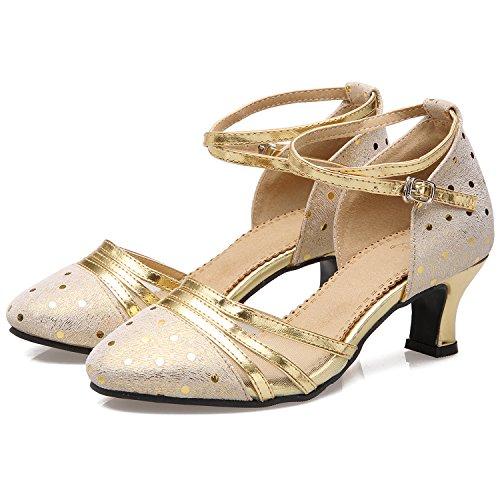 Azbro Mujer Zapatos de Baile Latino Medio Tacón de Cuero Auténtico Plateado