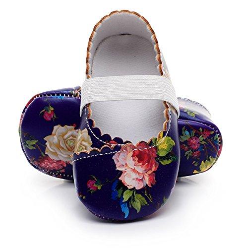 HONGTEYA Print Flower Baby Girls Shoes Mary Jane Baby Sandals (12-18M/5.12inch, Purple) -
