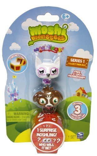 Moshi Monsters Moshlings Mini Figures - Series 1 - Pack of 3 Figures (w/ 1 code)
