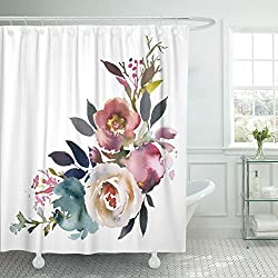 TOMPOP Shower Curtain Navy Anemone Dusk Blue Pale Pink Gray White Watercolor Floral Corner Bouquet Arrangement Berries Waterproof Polyester Fabric 72 x 72 inches Set with Hooks