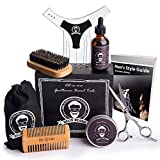 Grooming Kit For Men By Helix Beard: Beard Care Set With Organic Beard Oil, Balm, Shaping Tool, Scissors, Brush And Comb For Trimming And Styling, Facial Hair Growth, Soft Beard And Mustache & Ebook