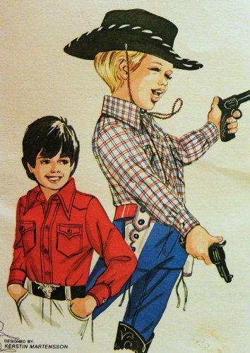 Kwik Sew 492 Boys Western Cowboy Shirt Sewing Pattern Size 4-6-8-10
