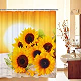 Bathroom Sets with Shower Curtain BLEUM CADE Bathroom Shower Curtain Sunflowers in The Sunset Shower Curtains with 12 Hooks, Durable Waterproof Fabric Bathroom Curtain