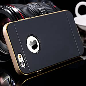 For iphone 6 Luxury Slim Tough Logo Hole Armor Case for Apple iphone6 4.7 Aluminum Metal Frame Double Color Hybrid Cover Gold --- Color:Silver