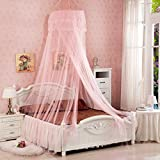 Elecday Baby Mosquito Net Baby Toddler Bed Crib Canopy Netting, Pink
