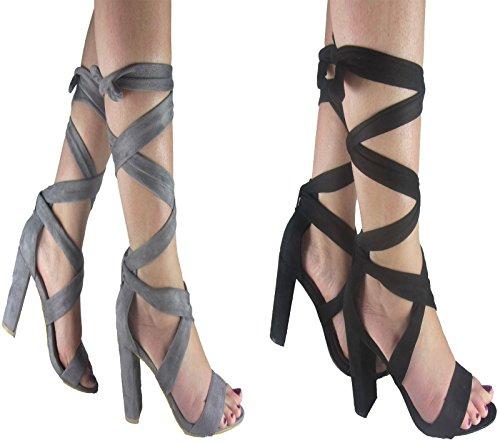 New Ladies mujer ante tacón Puntera Abierta Encaje Hasta Tobillo Tie Wrap Around Sandalia Zapatos Tamaño 3-8 Negro - negro