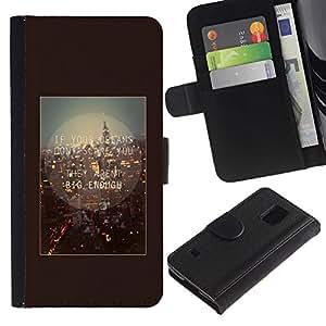 Planetar® Modelo colorido cuero carpeta tirón caso cubierta piel Holster Funda protección Para SAMSUNG Galaxy S5 V / i9600 / SM-G900 ( London England Quote Brown Text )