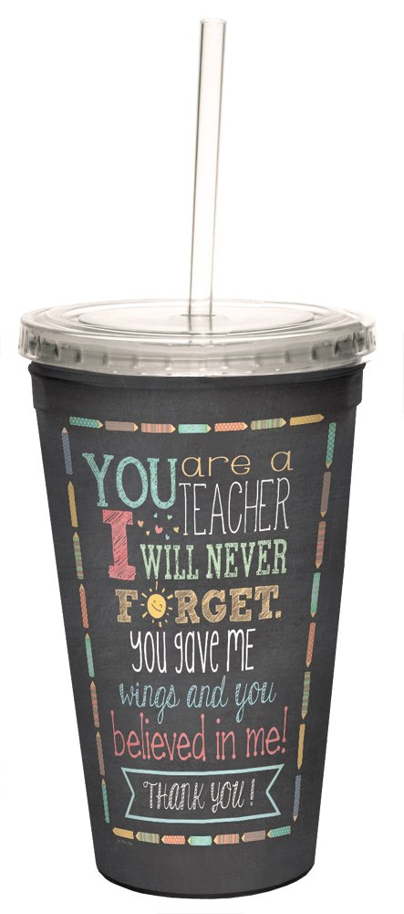 Teacher Thanks Double-Walled Cool Travel Cup with Reusable Straw, 16-Ounce - Teacher Appreciation Week Thank You Gift - Tree-Free Greetings 98218
