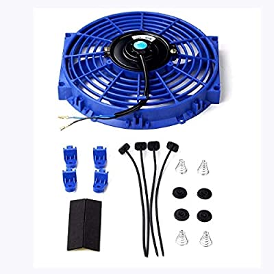 Universal 10 inch Slim Fan Push Pull Electric Radiator Cooling 12V 80W Mount Kit Blue: Automotive