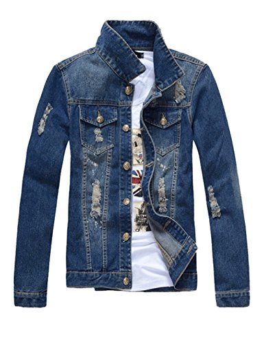 DSDZ Mens Classic Ripped Motorcycle Denim Jacket with Hole Blue L(Asian 3XL)