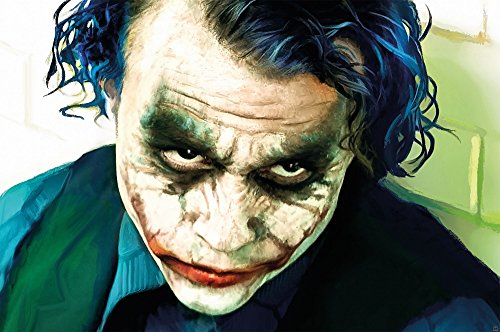GREAT ART Wall Decoration The Joker Wallpaper - Movie Character Mural Heath Ledger Poster Clowns Villain DC Comic DC Universe (55 Inch x 39.4 Inch)]()