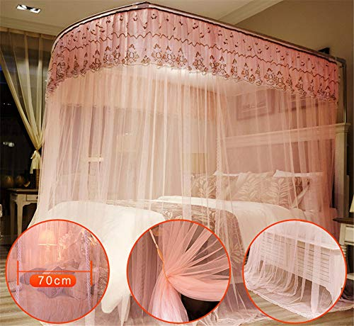 U-Type Retractable Bracket Mosquito net Double Bed Mosquito net Princess Mosquito net Three Door Thick Yarn Thickening Mosquito net Luxury Mosquito net, Pink, L (87-210Adjustment) W180cm by RFVBNM Mosquito net (Image #2)