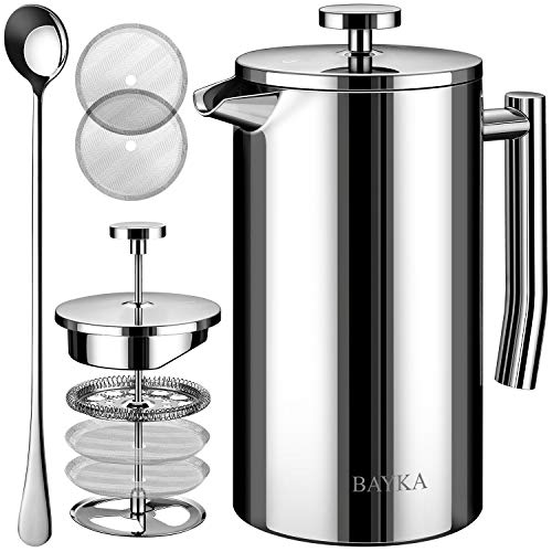 BAYKA French Press Coffee and Tea Maker, 34oz Double-Wall Stainless Steel Metal Insulated Pot with 4 Level Filtration System, Rust-Free, Dishwasher Safe (Steel Press French)