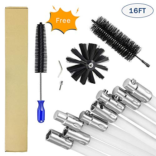 DECFLO 16FT Nylon Chimney Sweep Cleaning Brush Kit – Dry Vent Cleaning Brush Kit Lint Remover for Dryer Duct, Stiff Poly…