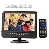 GJY 9-Inch Portable TV, Features ATSC TV Tuner+NTSC,USB/TF/Headphone Inputs, Full Function Remote with mini TV,Automotive Mobile TV