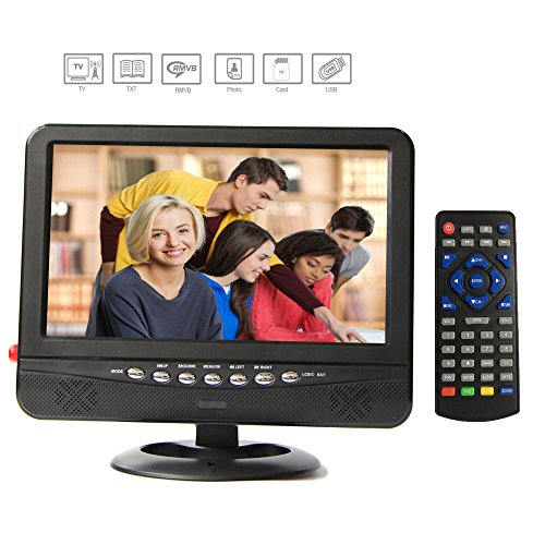 GJY 9-Inch Portable TV, Features ATSC TV Tuner+NTSC,USB/TF/Headphone Inputs, Full Function Remote with mini TV,Automotive Mobile TV Black Widescreen Tv Stand