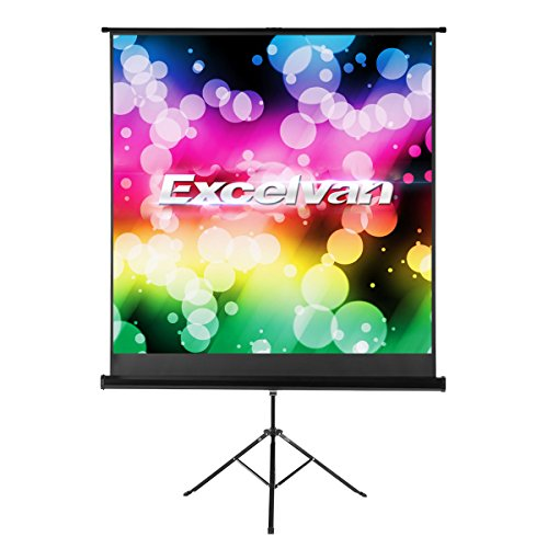Excelvan HD Portable Movie Screen with Foldable Stand Tripod, Diagonal 1:1 Indoor Outdoor Projector Screen Adjustable Anti-Crease Projection Screen for Home Cinema Presentation (100 Inch) by Excelvan