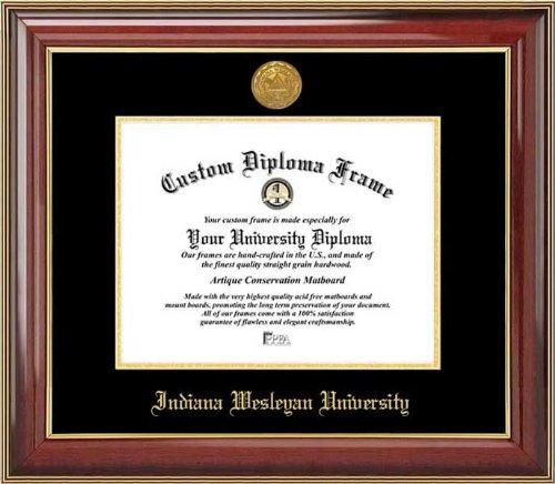 - Indiana Wesleyan University Wildcats - Gold Medallion - Mahogany Gold Trim - Diploma Frame