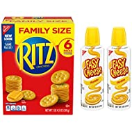 RITZ Original Crackers and Easy Cheese Cheddar Snack Variety Pack, 1 Family Size Box & 2 Cans
