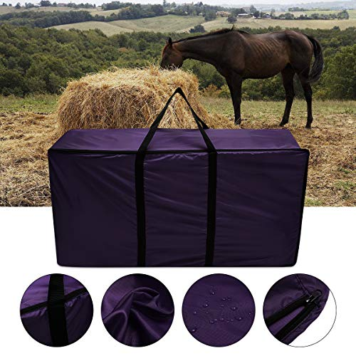 Hay Bag Tote - Essort Hay Bale Storage Bag, Extra Large Tote Hay Bale Carry Bag, Foldable Portable Horse and Livestock Hay Bale Bags with Zipper Waterproof, Purple 45'' x 14'' x 23''