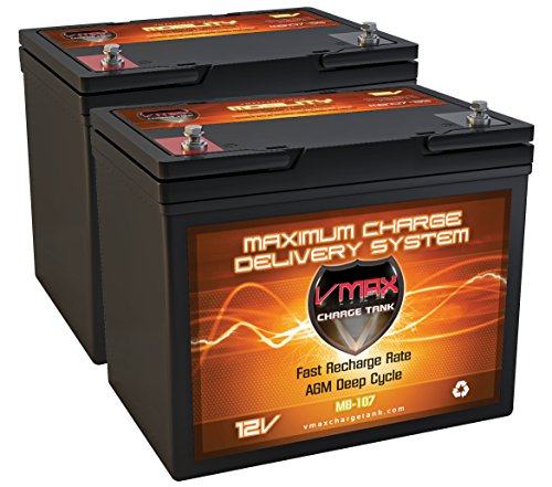 QTY2 VMAXMB107 AGM Group 24 Deep Cycle Battery Replacement for Hoveround Technique HD 12V 85Ah Wheelchair Battery