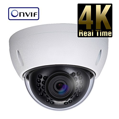 (8 Megapixel 4K IP Network Vandal Dome Security Camera - 4mm Fixed Lens - 65' IR 4K Progressive Scan CMOS - ONVIF Protocol)
