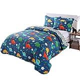 100% Cotton 3 Piece Kids Quilt Bedspread Comforter Set Throw Blanket for Teens Boys Girls Kids Beds Bedding Coverlet, Cartoon Dinosaur (Full)