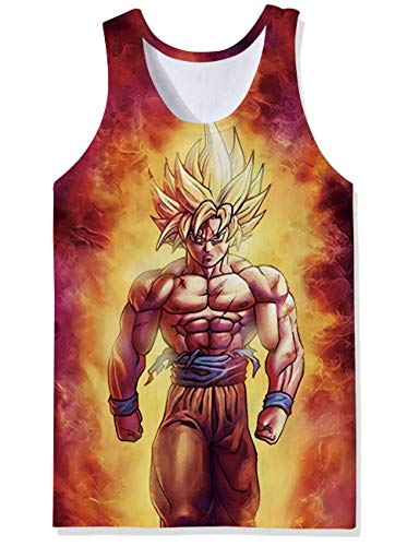 Young Mens Awesome Gold Red Fire Flames Dragon Ball Z Angry Super Saiyan Muscle Man Floral Prints Tanktops Baggy Fitted Tank Shirt Casual Elongated Compression Vest Tops Singlet