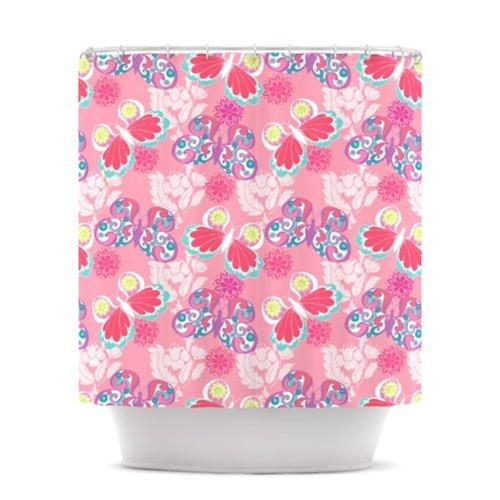KESS InHouse Anneline Sophia Baroque Butterflies Shower Curtain, 69 by 70-Inch