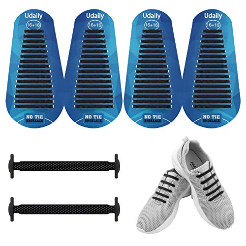 Udaily 2 Pairs No Tie Shoelaces for Kids and Adults