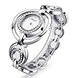 Womens Fashion Silver Wrist Watch Ladies Stainless Steel Bracelet Bangle Watches for Women Girl
