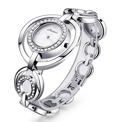 (Chrysansmile Women Luxury Silver Bangle Watch Fashion Stainless Automatic Watch Designer Cuff Bracelet Watches)